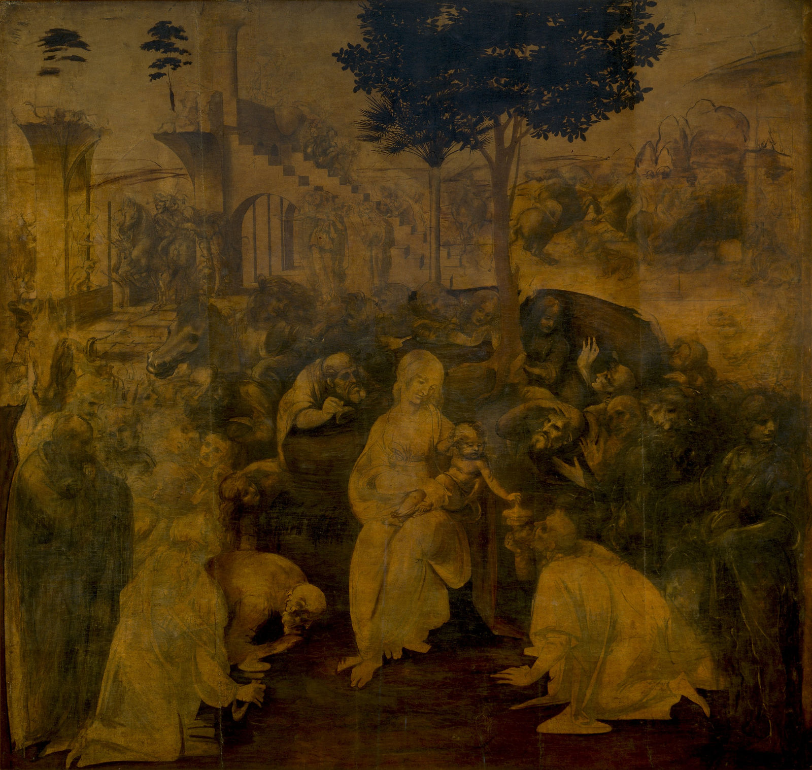 Leonardo da Vinci The Adoration of the Magi painting - art on screen telecast at Arena Theater